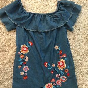 Dresses & Skirts - Denim off the shoulder dress! 🌺🌼🌷